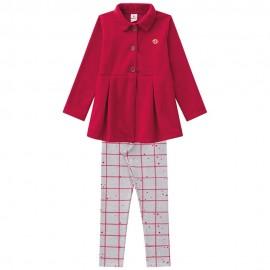 Conj. Casaco Vermelho e Legging Xadrez Infantil Brandili Menina 4 Anos