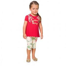 Conj. Bata Vermelha e Legging Brandili Menina Gatinhos 3 Anos
