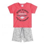 Conj. Camiseta e Bermuda Skate Para Bebê Menino 6-9 Meses