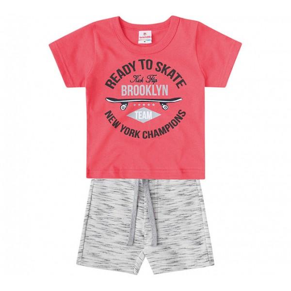 Conj. Camiseta e Bermuda Skate Para Bebê Menino 6-9 M/9-12m