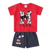 Conjunto Bermuda e Camiseta Disney Baby Mickey Menino 6-9 / 9-12 Meses