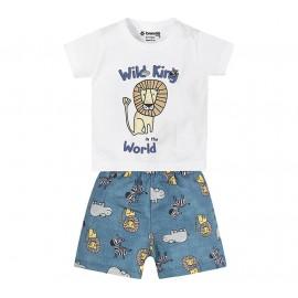Conj. Camiseta e Bermuda Bebê Leão Safári Brandili M 6-9 Meses