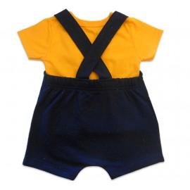 Jardineira Macacão de Bebê Verão Azul Marinho Carrinho Camiseta Laranja Brandili Menino P/M/G
