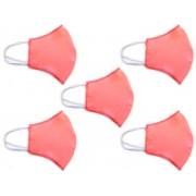 Kit Máscara de Proteção Anatômica Lavável Malha Dupla Face 100% Algodão Vermelho Claro