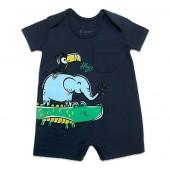 Macacão de Bebê Bichinhos Safári Azul Verão Brandili Menino RN-P-M-G