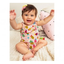 Macacão de Bebê Verão Alcinha Verde Abacaxi Colorido Brandili Menina