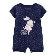 Macacão de Bebê Verão Brandili Menina Coelha Bailarina Azul Marinho