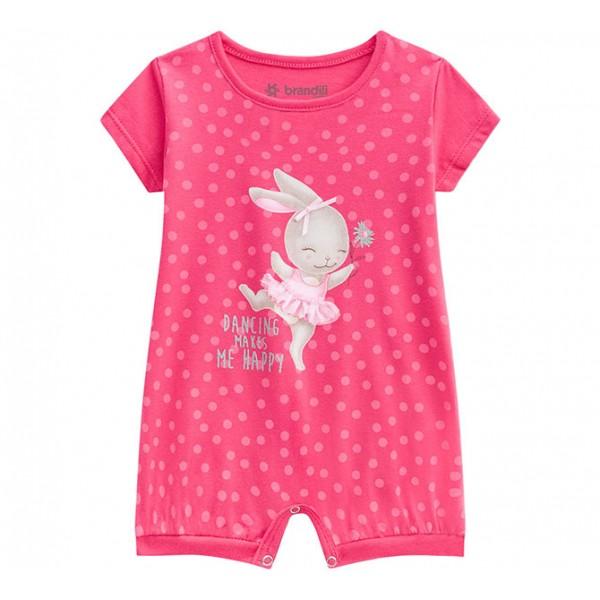 Macacão de Bebê Verão Brandili Menina Coelha Bailarina Rosa