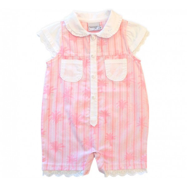 Macacão de Bebê Verão Golinha Redonda Coqueiros Cor de Rosa Noruega Baby Menina 6-9 Meses