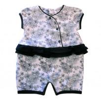Macacão de Bebê Verão Kimono Japonês Floral Azul Marinho Noruega Baby Menina P/M