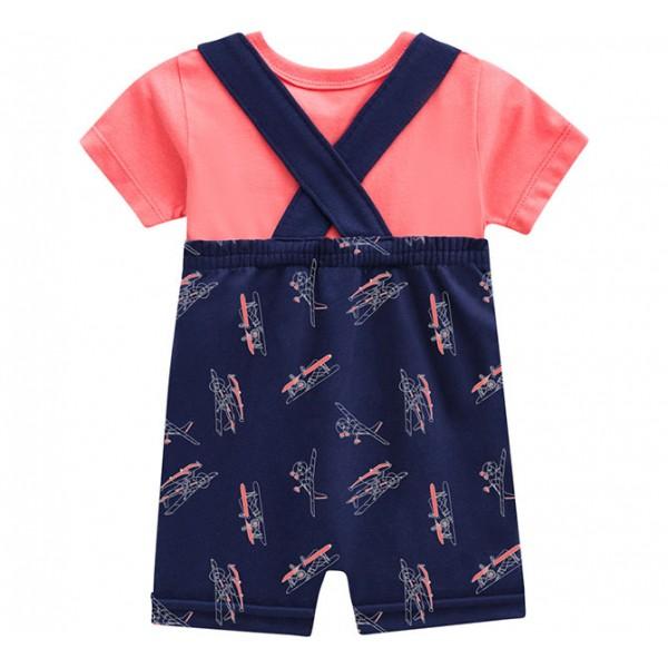 Macacão de Bebê Jardineira Estampa Avião e Camiseta Manga Curta Brandili Menino P-M-G