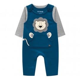 Macacão Bebê Menino Jardineira Azul com Camiseta Cinza Leão Brandili