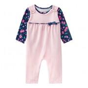 Macacão Bebê Jardineira Veludo Rosa com Blusa Floral Brandili Menina
