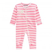 Macacão Bebê Plush Listrado Rosa e Branco com Zíper Brandili Baby Menina