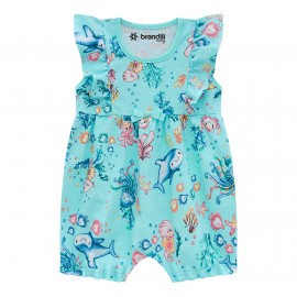 Macacão de Bebê Verão Brandili Menina Pimpão Babadinho Fundo Mar