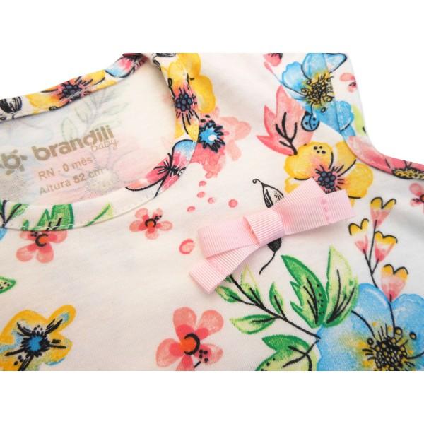 Macacão de Bebê Menina Verão Floral Borboletas Brandili RN-P-M-G