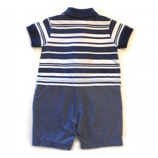 Macacão de Bebê Gola Polo Azul Marinho Listrado Marinheiro Verão Noruega Menino 3-6 Meses