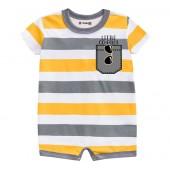 Macacão de Bebê Listrado Amarelo e Cinza Aviador Verão Menino Brandili