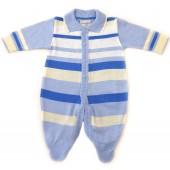 Macacão de Bebê Maternidade Noruega Menino Tricô Listrado Azul