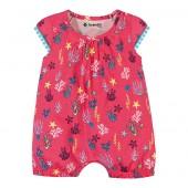 Macacão de Bebê Verão Brandili Baby Menina Fundo do Mar Goiaba RN-P-M