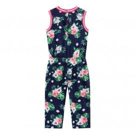Macacão Infantil Azul Marinho Floral Hibisco Brandili Menina 1-3/4-8 Anos