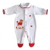 Macacão de Bebê Poá Ursinha Branco e Vermelho