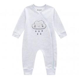 Macacão de Bebê Moletom Flanelado Unissex Cinza com Zíper e Pé Reversível Nuvem Brandili