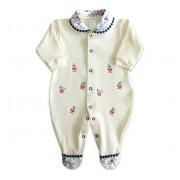 Macacão de Bebê Menina Bordado Floral com Guipure Marinho