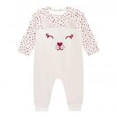 Macacão de Bebê Menina sem Pezinho Ursinha Poá Brandili Baby