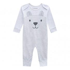 Macacão de Bebê Unissex Cinza sem Pezinho Ursinho Listras Brandili Baby