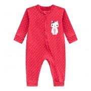 Macacão Bebê Poá Vermelho Gatinha Vira Pezinho com Zíper Brandili Menina