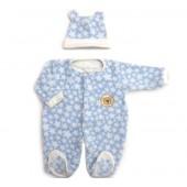 Macacão de Bebê Menino Inverno Soft Azul Estrelinhas com Touca de Orelhinha Zip Toys
