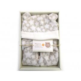 Macacão de Bebê Unissex Inverno Soft Cinza Estrelinhas com Touca de Orelhinha Zip Toys