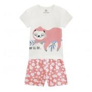 Pijama Infantil Que Brilha no Escuro Verão Bicho Preguiça Menina Brandili