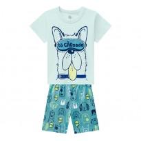 Pijama Infantil Que Brilha no Escuro Menino Verão Cachorro Brandili Menino 1-8 Anos