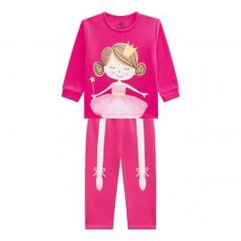 Pijama Infantil Manga Longa Brilha no Escuro Menina Bailarina Rosa Brandili
