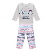 Pijama Infantil Inverno Moletom Flanelado Pinguins Menina Brandili 1-3/4-8 Anos