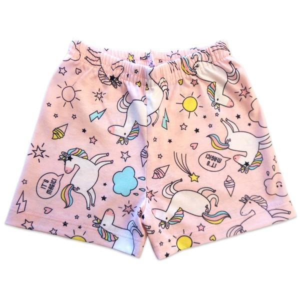 Pijama Infantil Que Brilha no Escuro Verão Unicórnio Menina Brandili