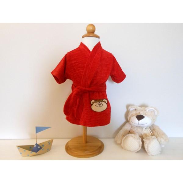 Roupão Infantil Vermelho Aveludado para Bebê Ursinho Unissex Zip Toys