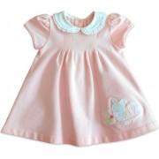 Vestido Bebê Chicco Rosa Coelhinha com Golinha Redonda Menina 9 Meses