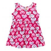 Vestido Bebê Verão Brandili Pink Corações e Peixinhos Menina P-M-G