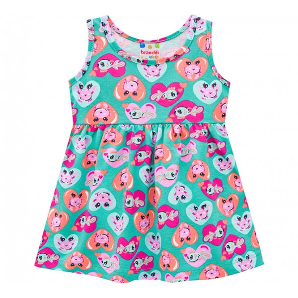 Vestido Bebê Verão Brandili Verde Corações e Peixinhos Menina P-M-G