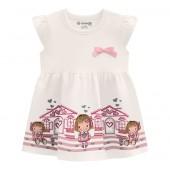 Vestido Bebê Off-White Barrado Menininhas Manga Babado Verão Brandili Menina P-M-G