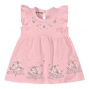Vestido Bebê Babadinhos Rosa Menina Brandili Tam P 3-6 Meses
