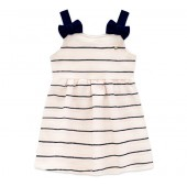Vestido Bebê Piquet Verão Brandili Menina Off-White Alça Lacinho RN-P-M-G