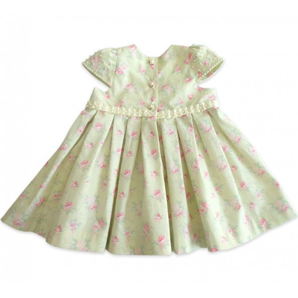 Vestido Floral Verde para Bebê com Pérolas b4104e4a2ca3