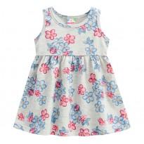 Vestido Bebê Floral Joaninhas Cinza Menina Brandili M 6-9 Meses