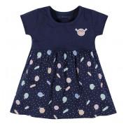 Vestido Bebê Frutinhas Menina Brandili Azul Marinho M 6-9 Meses