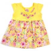 Vestido Bebê Verão Floral Joaninha Amarelo Brandili Menina P 3-6 Meses