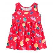 Vestido Bebê Frutinhas e Corações Vermelho Verão Brandili Menina P-M-G